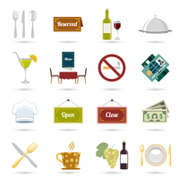 Restaurant food cooking and serving icons set isolated vector illustration