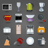 Realistic kitchen appliances icons set with microwave wine glass kettle blender isolated vector illustration
