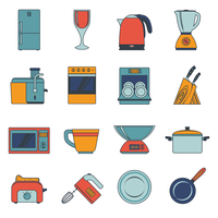 Kitchen appliances icons flat set with fridge wine glass kettle blender isolated vector illustration