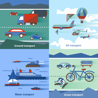 Transportation flat set with ground air water green transport isolated vector illustration