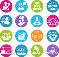 Business meeting white round buttons icons set of teamwork mediation planning elements isolated vector illustration