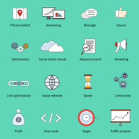 SEO marketing flat line icons set with places contact monitoring message choice isolated vector illustration 60016003943| 写真素材・ストックフォト・画像・イラスト素材|アマナイメージズ