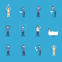 Hygiene icons flat set with people figures washing body cleaning isolated vector illustration