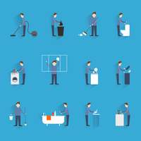 Cleaning flat icons set with  household working people figures isolated vector illustration