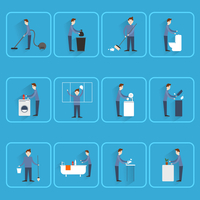 Cleaning people icons set with dust sweeping ironing dishes washing isolated vector illustration