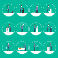 Cleaning people flat round button icons set with vacuuming garbage throwing sweeping isolated vector illustration 60016003953| 写真素材・ストックフォト・画像・イラスト素材|アマナイメージズ