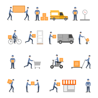 Delivery person freight logistic business service icons flat set isolated vector illustration