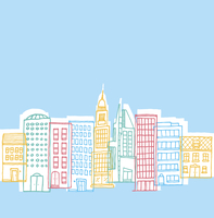 Cartoon illustration of a funny city neighborhood buildings 60016003959| 写真素材・ストックフォト・画像・イラスト素材|アマナイメージズ