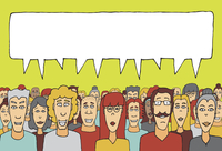 Crowd speaking together 60016003960| 写真素材・ストックフォト・画像・イラスト素材|アマナイメージズ