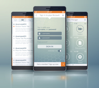 Mobile application interface concept. Vector Illustration, eps10, contains transparencies.