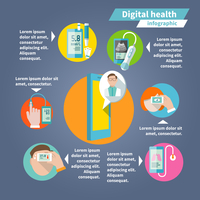 Digital health mobile medicine flat infographics set vector illustration