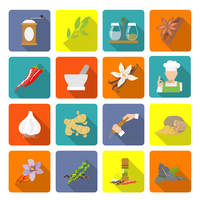Herbs and spices flat icons set of ginger cinnamon mortar and pestle isolated vector illustration 60016004052  写真素材・ストックフォト・画像・イラスト素材 アマナイメージズ
