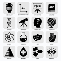 Science areas black icons set with archaeology quantum mechanics mathematics isolated vector illustration