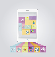 Smartphone with stylish modern colorful user interface on a screen.