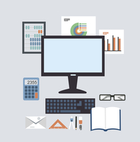 Desktop Accounting illustration. Flat modern style vector design
