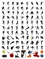 Collection of silhouettes of sportsmen. 100 silhouettes of sportsmen and stock. A vector illustration 60016004109| 写真素材・ストックフォト・画像・イラスト素材|アマナイメージズ