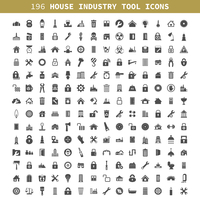 Collection of icons the house, the industry, the tool. A vector illustration