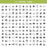 Collection of icons of the nature. A vector illustration