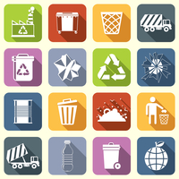 Garbage rubbish green recycling symbols flat interface icons set isolated vector illustration