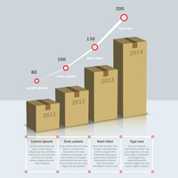 Carton cardboard box growth infographic time line with years and text vector illustration