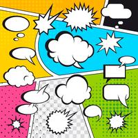 Comic speech bubbles and comic strip on colorful halftone background vector illustration 60016004147| 写真素材・ストックフォト・画像・イラスト素材|アマナイメージズ