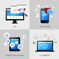 SEO web mobile concepts social media application e-commerce icons set isolated vector illustration