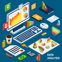 Isometric data analysis business icons set with laptop and office stationery vector illustration