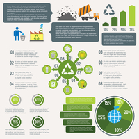 Garbage recycling infographic elements set with cleaning icons and charts vector illustration