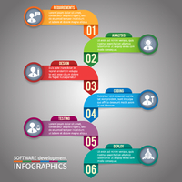 Abstract paper software development infographics layout template vector illustration