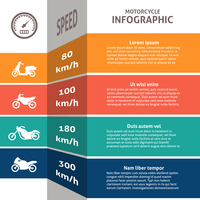 Infographic main types bikes motorcycles fuel consumption speed classification chart  with standard sport touring scooters vecto