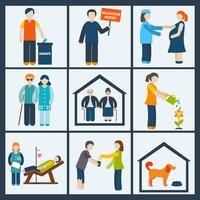 Social services and volunteer organizations icons set flat isolated vector illustration 60016004178| 写真素材・ストックフォト・画像・イラスト素材|アマナイメージズ