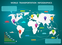 Transportation logistic infographics elements with world map and delivery chain vector illustration.