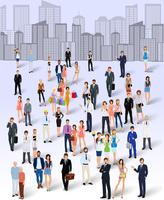 Large group crowd of people on city skyline background poster vector illustration 60016004196| 写真素材・ストックフォト・画像・イラスト素材|アマナイメージズ