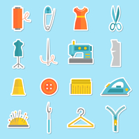 Sewing equipment and tailor needlework stickers set with button thimble pin isolated vector illustration