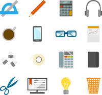 Business office desk icons set of computer coffee cup and stationery isolated vector illustration 60016004199  写真素材・ストックフォト・画像・イラスト素材 アマナイメージズ