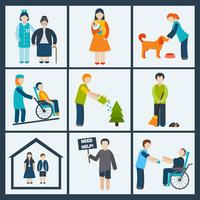 Social services and volunteer icons set isolated vector illustration 60016004202| 写真素材・ストックフォト・画像・イラスト素材|アマナイメージズ
