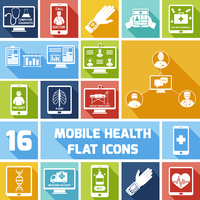 Mobile health medicines delivery x-ray monitoring icons flat set isolated vector illustration
