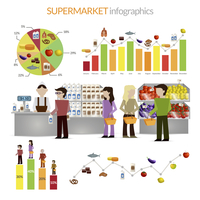 Supermarket flat elements infographic set with people vector illustration