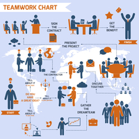 Teamwork infographic set with business process pictograms and world map vector illustration