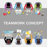 Business team teamwork concept top view office people group on long table vector illustration