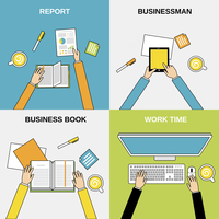 Business hands report businessman book work time flat line set isolated  vector illustration