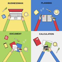 Business hands businessman planning document calculation flat line concepts set isolated  vector illustration