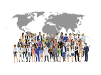 Large group crowd of people adult professionals with world map on background vector illustration 60016004231| 写真素材・ストックフォト・画像・イラスト素材|アマナイメージズ