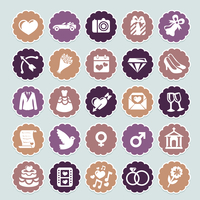 retro wedding collection - vector icons and badges