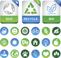 Vector ecology infographics elements - set with eco signs and symbols