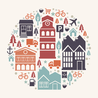 Vector city concept illustration - with house and building icons 60016004280| 写真素材・ストックフォト・画像・イラスト素材|アマナイメージズ