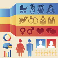 Vector infographics design elements - man and woman icons and signs - female and male population