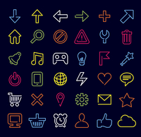 Vector technology icons and signs in modern neon style