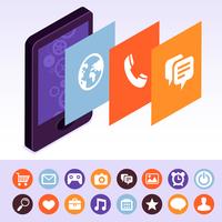 Vector mobile phone with interface screens 60016004361| 写真素材・ストックフォト・画像・イラスト素材|アマナイメージズ