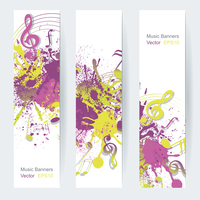 Music notes banner design, vector illustration